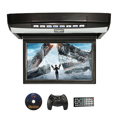 15.6 inch 1080P HD Car Flip Down TFT LCD Monitor Auto Roof Mount Display HDMI SD