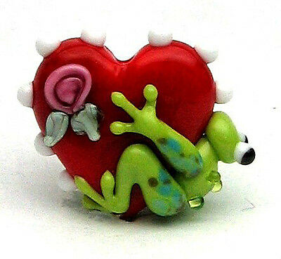 Made to order Margo lampwork beads frog rose heart