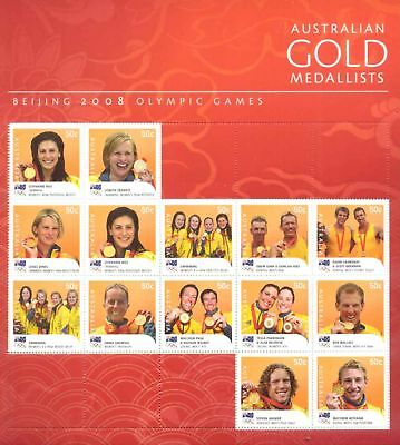 Australia Scarce Last Beijing 2008 Olympic Gold Medallists Composite Stamp Sheet