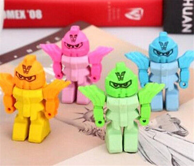 FD3866 Removable Creative Robots Eraser Rubber Pencil Stationery Child Toy 1pc✿