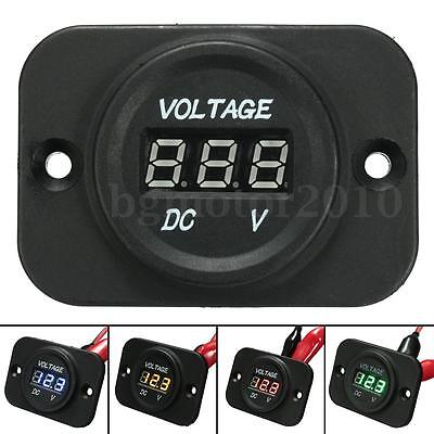 DC 12V 24V Car Motorcycle LED Digital Display Voltmeter Voltage Meter US NEW