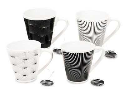 Set of 4 Black & White Fan Tail Design Porcelain Mugs Ideal for Home and Office