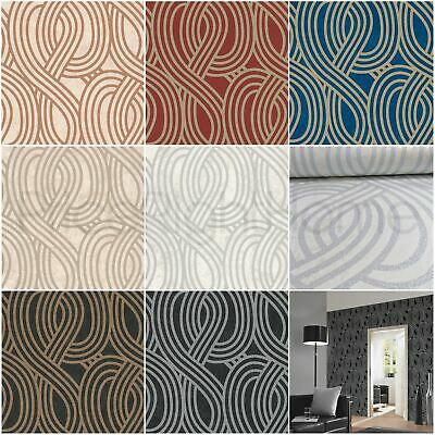 P&s Carat Geometric Glitter Stripes Wallpaper Feature Wall Black Gold Silver New