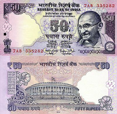 """INDIA 50 Rupees Banknote World Money Mahatma Gandhi BILL 2014 Note Currency """"R"""""""