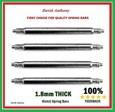 4 x STRONG 1.8mm THICK SPRING BARS.WATCH 16mm,18mm,19mm,20mm,22mm,24mm,26mm,28mm
