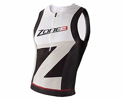 Zone 3 Lava Tri Top Unisex Triathlon Vest Black/White/Grey