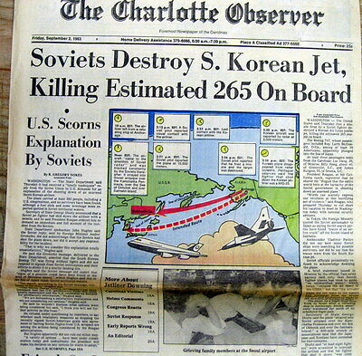 1983 display newspapere RUSSIA FIGHTER JET shoots down KOREA AIRLINER -265 DEAD