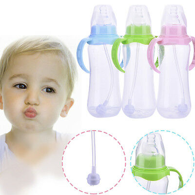 New 240ml Baby Cup Handle Children Learn Drinking Straw Bottle Sippy Cup Infant