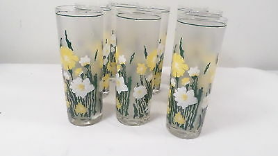 """8 Vintage 6 3/4"""" Frosted Drinking Glasses with Yellow & White Flowers"""