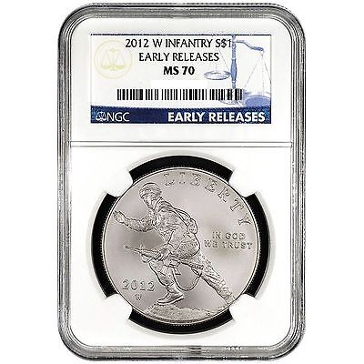 2012 W INFANTRY EARLY RELEASES COMMEMORATIVE SILVER DOLLAR COIN. NGC Graded MS70