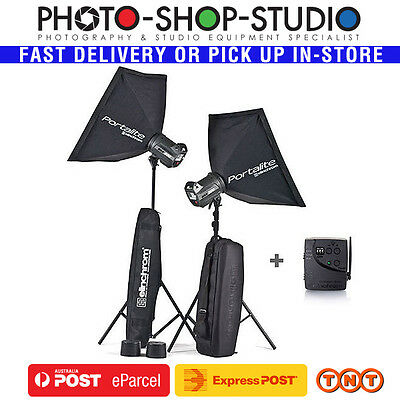 Elinchrom BRX 500/500 To Go Set with Stands Studio Flash Kit inc Softbox Skyport