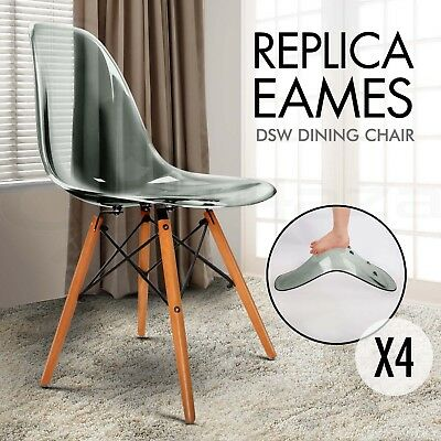 4 x Replica Eames DSW Dining Chairs Side Retro Eiffel Kitchen Transparent