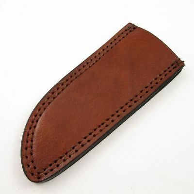 """FIXED-BLADE KNIFE BELT SHEATH Brown Leather 6.75"""" Fits up to 6"""" x 1.5"""" Blade A"""
