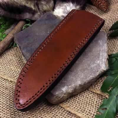 """FIXED-BLADE KNIFE BELT SHEATH Brown Leather - Fits up to 7.5"""" x 1.2"""" Blade"""