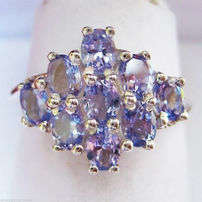 SOLID STERLING SILVER - PRETTY 1.89CT GENUINE TANZANITE GEMSTONE RING size 7