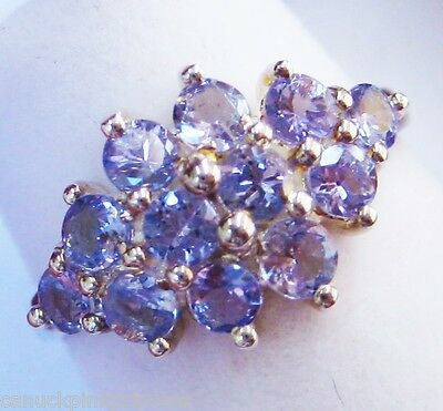 SOLID STERLING SILVER - PRETTY 1.32CT GENUINE TANZANITE GEMSTONE RING size 6