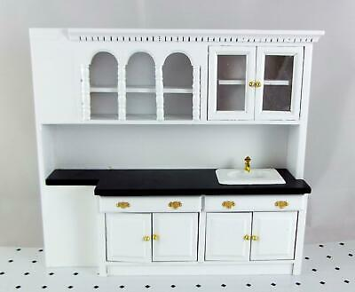 Dolls House Miniature Fitted Kitchen Furniture Black & White Sink Unit Cupboards