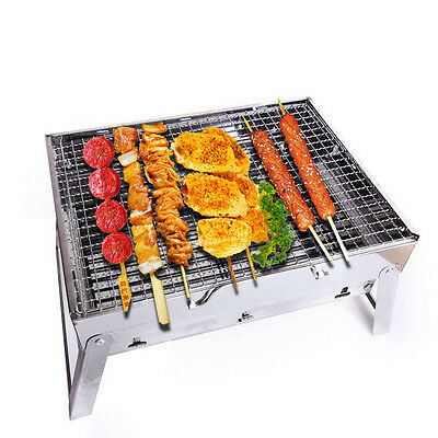 Outdoor Portable Foldable Stainless Steel Barbecue Charcoal Grill BBQ Camping