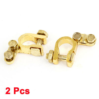 2 Pcs Vehicle Car Alloy Battery Terminal Clamp Clips Gold Tone