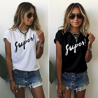 New Womens Ladies Summer Letter Short Sleeve Blouse Casual Tops T Shirt UK 6-22