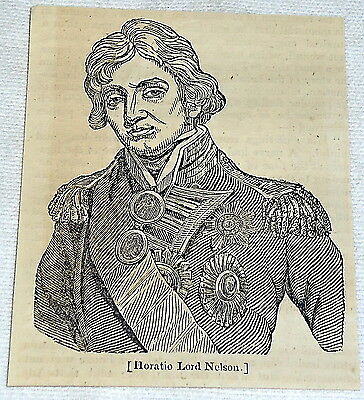 small 1832 magazine engraving ~ HORATIO LORD NELSON