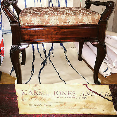 Marsh Jones and Cribb Piano Stool High Quality Antique Mahogany Labelled Kendell