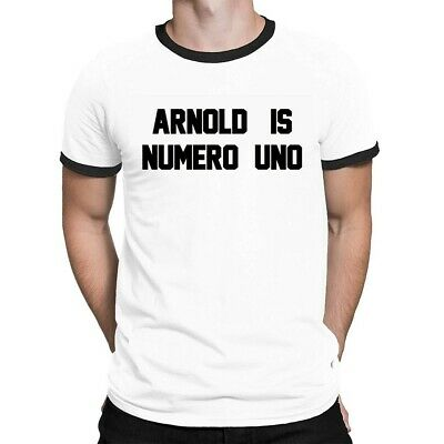 Arnold Is Numero Uno Mens RINGER T-Shirt Retro Birthday Gift