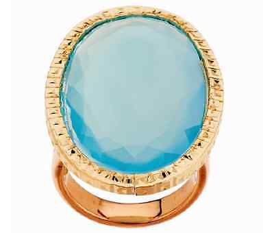 Vicenzagold 14K Yellow Gold Bold Oval Blue Chalcedony Ring Size 5 Qvc $318.00