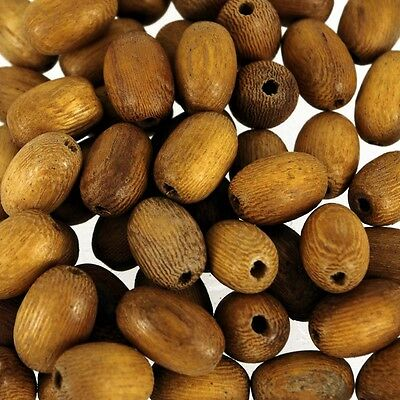 55 Pcs Oval Natural Wooden String Of Beads  15X10Mm W370