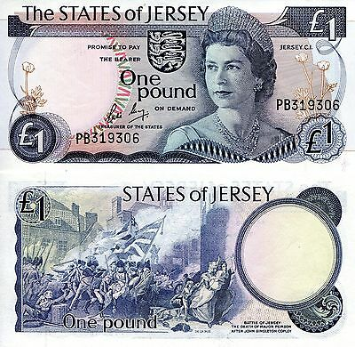 JERSEY 1 Pound Banknote World Paper Money UNC Currency p11b Bill Note Queen