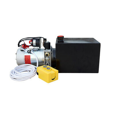 2200W 12V 6 Quart Single Acting Hydraulic Power Pump Unit Cylinder Dump Trailer