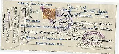 Old 1923 Bank check W.R.Brock Co 6 Cent Excise Tax Stamp