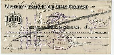 Old 1925 Bank check Western Canada Flour Mills 10 & 20 Cent Excise Tax Stamps