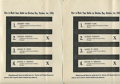 2 Old 1928 Canada Political Election How to Mark your Ballot Papers