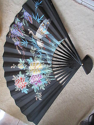 """Old Vintage Chinese Handpainted Large Fan w/ Box 35"""" Long"""