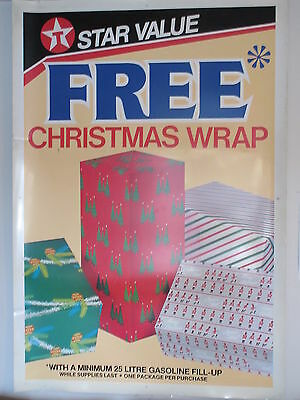 "Old Vintage Texaco Star Value Free Christmas Wrap Plastic Large Sign 44"" X 64"""
