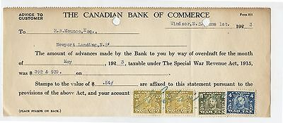 Old 1923 Bank Check Canadian Commerce 10 & 20 Cent Excise Tax Stamps