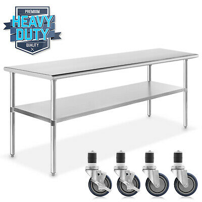 "Stainless Steel Commercial Kitchen Work Food Prep Table w/ 4 Casters - 30"" x 60"""