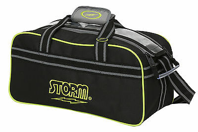 Storm 2 Ball Bowling Bag Tote Black Grey Lime
