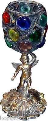 Vtg Candle Holder, Eros, Unique Brass & Glass Design, M.c. Gim 444