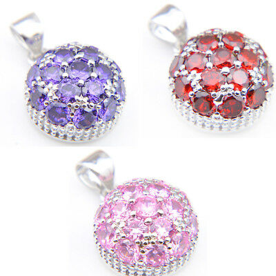 3 Pcs Genuine Peridot Amethyst Pink Topaz Gemstone Silver Necklace Pendants Set