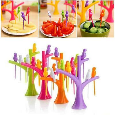 6pcs Fruit Snack Cake Fork Bird Stick Pick with Tree Trunk Holder Party Decor