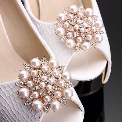 1Pair Gold Diamante Silver Shoe Clips Pearl Crystal Flower Bridal Rhinestone UK