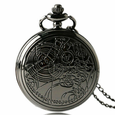 Black Dr.Who Quartz Pocket Watch Pendant Retro Doctor Who Steampunk Necklace