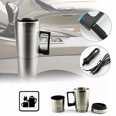 Stainless 12V 300ml Portable in Car Coffee Maker Tea Pot Vehicle Heating Cup Lid