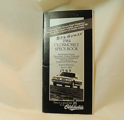 1984 Oldsmobile Salesmen's Specifications Book Prices
