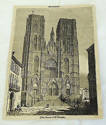 1832 magazine engraving ~ BRUSSELS Church of St Gudule