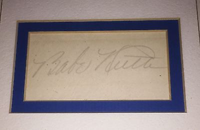 Mlb Babe Ruth Hand Signed Autographed Cut Mat With Coa Very Rare