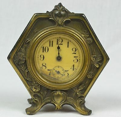 Antique 1902 Gilbert Alarm Clock In Brass Weidlich Bros. Mfg. Co. Case - Wow