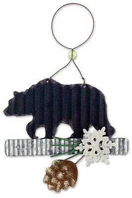 BEAR Silhouette with Pinecone Metal Christmas Ornament by Sunset Vista Designs